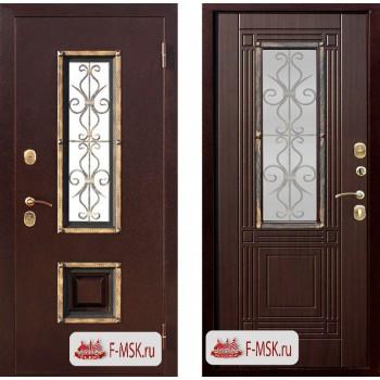 Входная металлическая дверь Феррони Венеция в цвете Медный антик / Венге, стекло тонированное  Полотно 9,5 см, Металл 1.4 мм, Вес 87 кг (Товар № ZF104422)