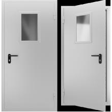 Дверь противопожарная металлическая однопольная со стеклом EI 60. Дверь ДПМО-01 EI 60. Цвет: RAL: 7035 серый (Товар № ZF190862)