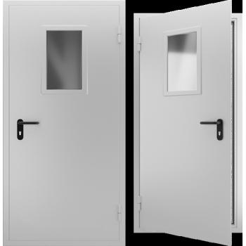 Противопожарная металлическая дверь однопольная со стеклом EI 60. Дверь ДПМО-01 EI 60. Цвет: RAL: 7035 серый (Товар № ZF105568)