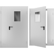 Дверь противопожарная металлическая двупольная со стеклом EI 60, Дверь ДПМО-02 EI 60. Цвет: RAL: 7035 серый (Товар № ZF105570)