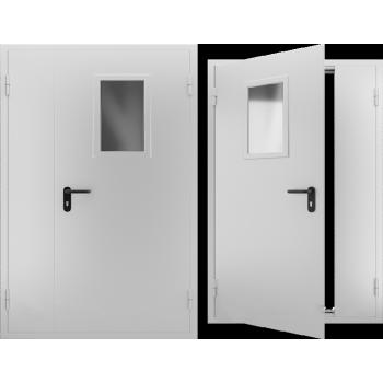 Противопожарная металлическая дверь двупольная со стеклом EI 60, Дверь ДПМО-02 EI 60. Цвет: RAL: 7035 серый (Товар № ZF105570)