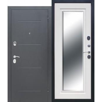 Входная металлическая дверь Феррони Гарда в цвете Антик серебро / Зеркало фацет Белый ясень |Полотно 7,5 см, Металл 1.4 мм, Вес 67 кг (Товар № ZF165701)