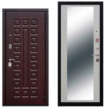 Входная металлическая дверь Феррони Сенатор зеркало в цвете Венге / Белый Ясень  Полотно 12 см, Металл 1.4 мм, Вес 102 кг (Товар № ZF104416)