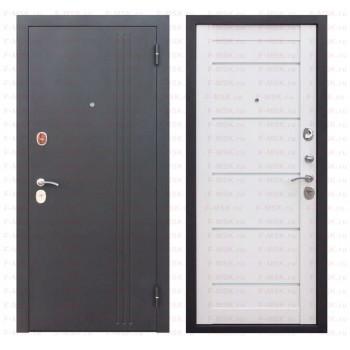 Входная металлическая дверь Феррони Нью-Йорк в цвете Чёрный муар / Ясень белый эмаль Царга |Полотно 7,5 см, Металл 1.4 мм, Вес 69 кг  (Товар № ZF165707)