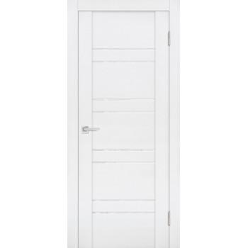 Дверь PST-1 белый бархат  SoftTouch белоснежный лакобель со стеклом