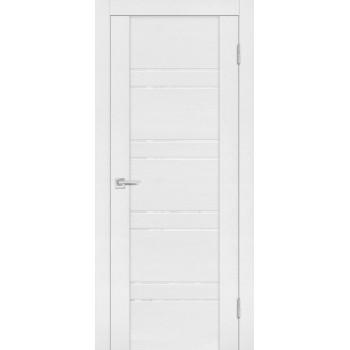 Дверь PST-1 белый ясень  SoftTouch белоснежный лакобель со стеклом