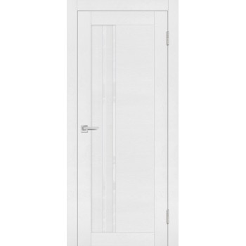 Дверь PST-10 белый ясень  SoftTouch белоснежный лакобель со стеклом