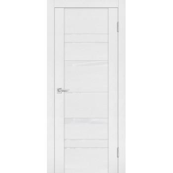 Дверь PST-2 белый ясень  SoftTouch белоснежный лакобель со стеклом
