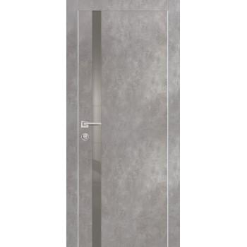 Дверь PX-8 AL кромка Серый бетон  Экошпон серый лакобель со стеклом