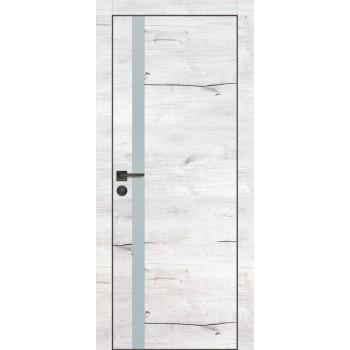 Дверь PX-8 черная кромка Дуб арктик  Экошпон Лунный мателак со стеклом