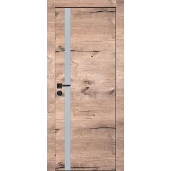 Дверь PX-8 черная кромка Дуб пацифик  Экошпон Лунный мателак со стеклом