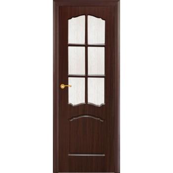 Дверь Лидия Венге (Эбен)  PVC Бронза рифленное со стеклом