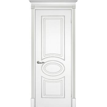 Дверь Смальта 03 Белый ral 9003 патина серебро  Эмаль глухое