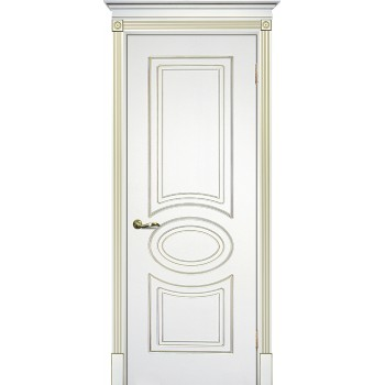Дверь Смальта 03 Белый ral 9003 патина золото  Эмаль глухое