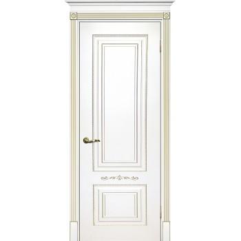 Дверь Смальта 04 Белый ral 9003 патина золото  Эмаль глухое