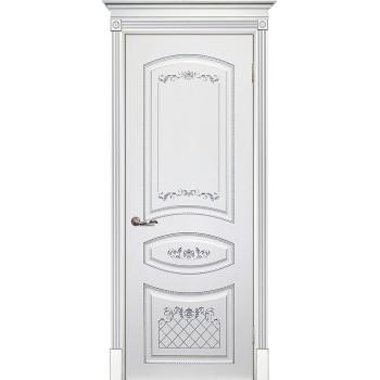 Дверь Смальта 05 Белый ral 9003 патина серебро  Эмаль глухое