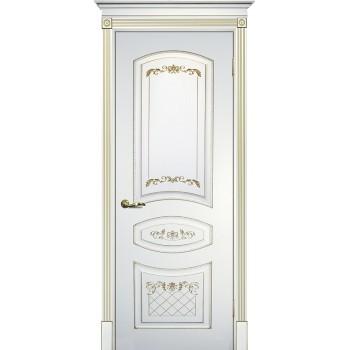 Дверь Смальта 05 Белый ral 9003 патина золото  Эмаль глухое