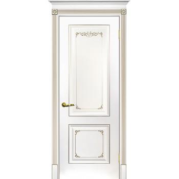 Дверь Смальта 14 Белый ral 9003 патина шампань  Эмаль глухое