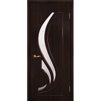 Дверь Трио Венге (Эбен)  PVC Сатинат, пескоструйная обработка со стеклом