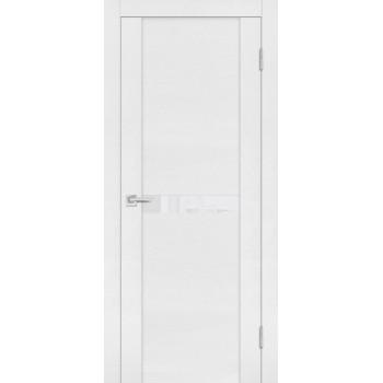 Дверь PST-3 белый ясень  SoftTouch белоснежный лакобель со стеклом