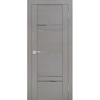 Дверь PST-5 серый ясень  SoftTouch Зеркало тонированное со стеклом