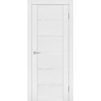 Дверь PST-7 белый ясень  SoftTouch белоснежный лакобель со стеклом