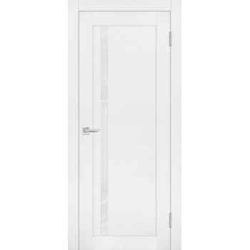 Дверь PST-8 белый бархат  SoftTouch белоснежный лакобель со стеклом