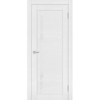 Дверь PST-8 белый ясень  SoftTouch белоснежный лакобель со стеклом