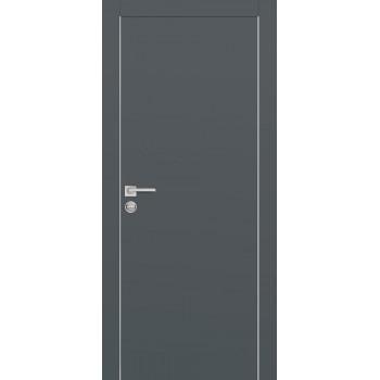 Дверь PX-1 AL кромка Графит  Экошпон глухое