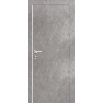 Дверь PX-1 AL кромка Серый бетон  Экошпон глухое