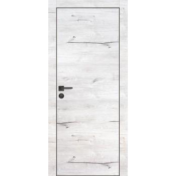 Дверь PX-1 черная кромка Дуб арктик  Экошпон глухое