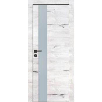Дверь PX-10 черная кромка Дуб арктик  Экошпон Лунный мателак со стеклом