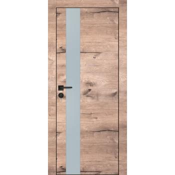Дверь PX-10 черная кромка Дуб пацифик  Экошпон Лунный мателак со стеклом