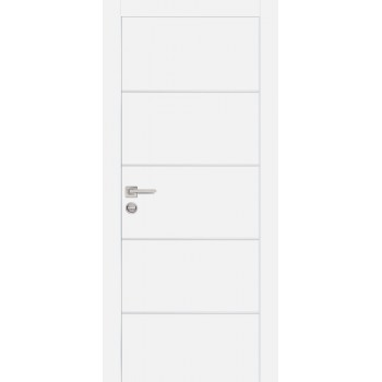 Дверь PX-12 AL кромка Белый  Экошпон глухое