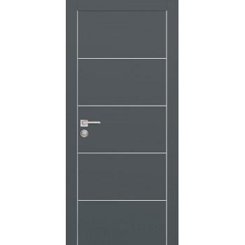 Дверь PX-12 AL кромка Графит  Экошпон глухое