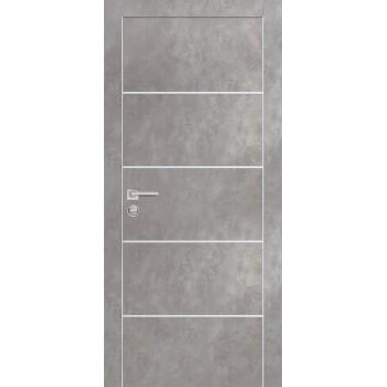 Дверь PX-12 AL кромка Серый бетон  Экошпон глухое