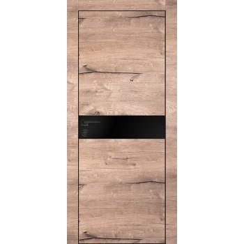 Дверь PX-13 черная кромка Дуб пацифик  Экошпон Черный мателак со стеклом