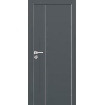 Дверь PX-14 AL кромка Графит  Экошпон глухое