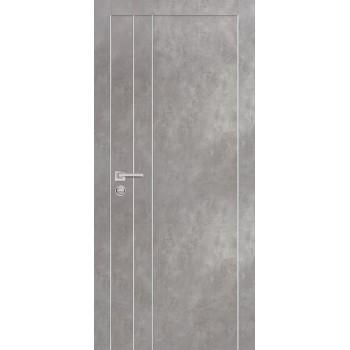 Дверь PX-14 AL кромка Серый бетон  Экошпон глухое