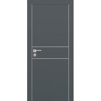 Дверь PX-15 AL кромка Графит  Экошпон глухое