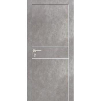 Дверь PX-15 AL кромка Серый бетон  Экошпон глухое