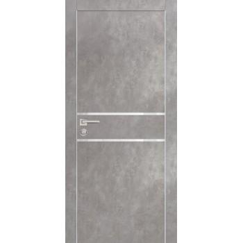 Дверь PX-18 AL кромка Серый бетон  Экошпон белоснежный лакобель со стеклом