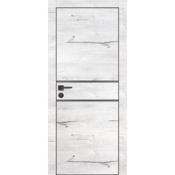 Дверь PX-18 черная кромка Дуб арктик  Экошпон Серый мателак со стеклом