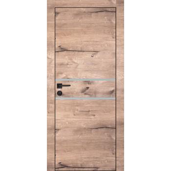 Дверь PX-18 черная кромка Дуб пацифик  Экошпон Лунный мателак со стеклом