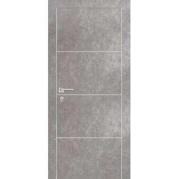 Дверь PX-2 AL кромка Серый бетон  Экошпон глухое