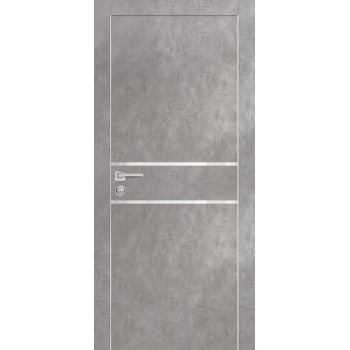 Дверь PX-18 Серый бетон  Экошпон белоснежный лакобель со стеклом (Товар № ZF213477)