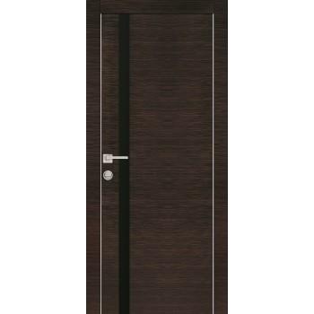 Дверь PX-8 Венге горизонтальный  Экошпон черный лакобель со стеклом (Товар № ZF213514)