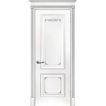 Дверь Смальта 14 Белый ral 9003 патина серебро  Эмаль глухое (Товар № ZF213526)