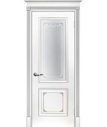 Дверь Смальта 14 Белый ral 9003 патина серебро  Эмаль Сатинат, шелкотрафаретная печать со стеклом (Товар № ZF213532)