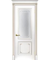 Дверь Смальта 14 Белый ral 9003 патина шампань  Эмаль Сатинат, шелкотрафаретная печать со стеклом (Товар № ZF213533)